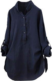 Eledobby Camicette di Lino da Donna Camicie Larghe Casual Camicie Abbottonate Top Manica Lunga con Scollo a V Tunica da Donna Top Lounge Wear Abiti Autunnali