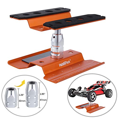 Hobbypark RC Car Stand Repair Work Station Aluminum 360 Degree Rotation Lift / Lower for 1/10 1/12 1/16 1/18 Scale Truck Buggy On Road Touring Drift(Orange)