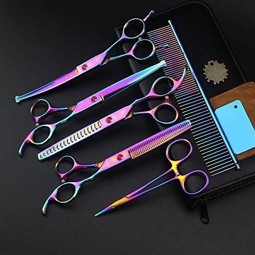 LIUCHUNYANSH Tijeras para Mascotas Preparación del Perro Mascota Tijeras Conjunto Perros Recto Curvo Adelgazamiento Profesional de peluquería Tijeras Set Color del Arco Iris