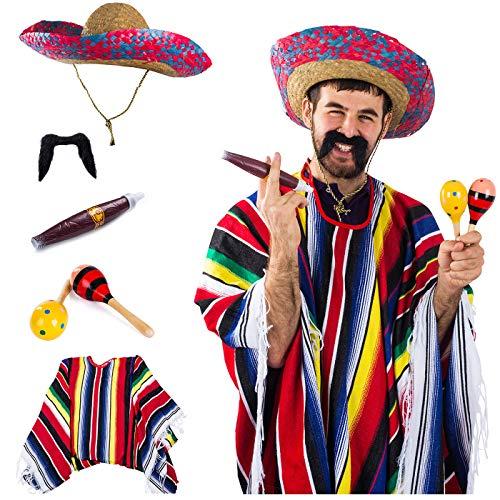 Tigerdoe Cinco De Mayo Costume - Mexican Costume – Sombrero Hat – Authentic Serape Poncho - Cigar - Mustaches - Maraca - Mexican Fiesta