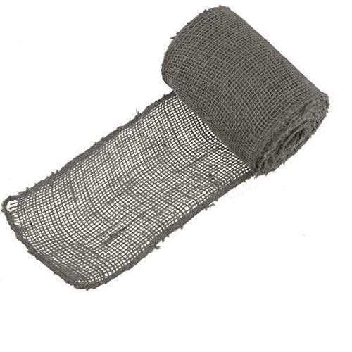 """BambooMN 5.5"""" Inch Wide Color Burlap Fabric Jute Craft Ribbon Roll, 1 Roll of 10 Yards, Grey"""