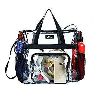MAY TREE Clear Bag Stadium Approved, Cold-Resistant, Lightweight and Waterproof, Transparent Tote Bag and Gym Clear Bag, See Through Tote Bag for Work, Sports Games and Concerts-12 x12 x6 (Black-L)