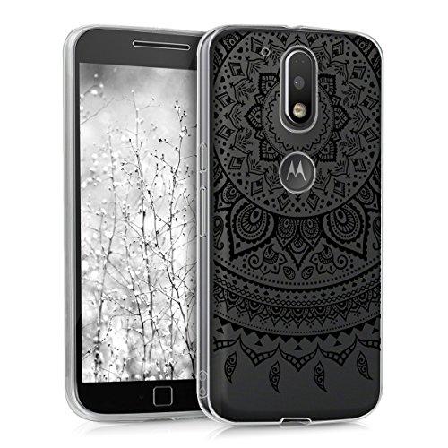 kwmobile Carcasa Compatible con Motorola Moto G4 / Moto G4 Plus - Funda de TPU y Sol hindú en Negro/Transparente