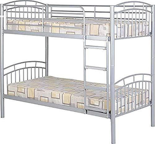 Marco de litera de metal doble doble de dos camas individuales, escalera activa, niño/adulto de metal infantil tablón,Silver