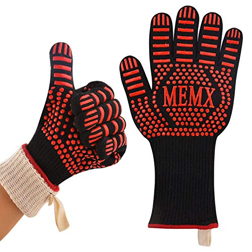 MEMX Oven Gloves, Barbecue Glove 500℃ Heat Resistant Grill Glove, Extreme Kitchen Cooking Oven Mitts, Finger Flexibility 33CM Extra Large Long Cuff Silicone Non-Slip