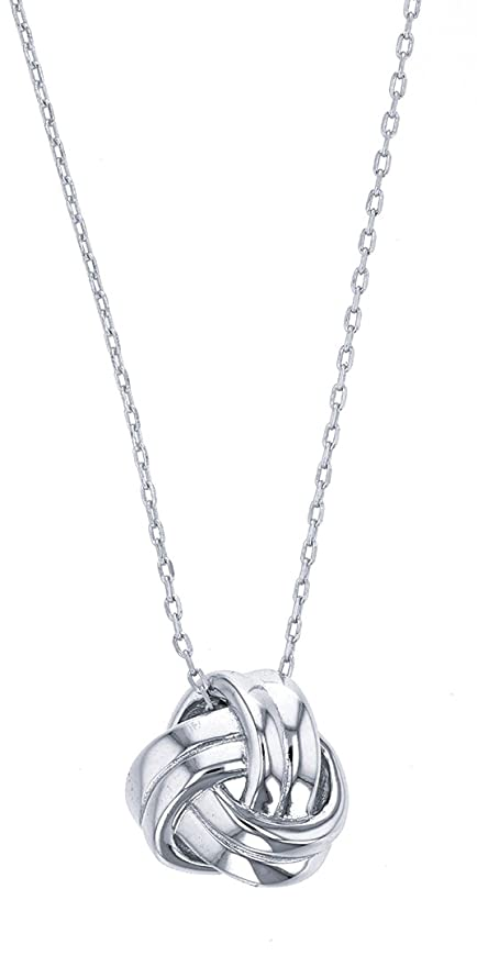 Tropical USA Sterling Silver Love Knot Necklace Pendant with Adjustable 16