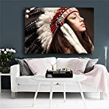 QWESFX Native Indian Beauty Girl Feather Tocado Pintura de la Lona Animal Impresiones de la Lona Pintura al óleo Arte de la Lona Pinturas de Pared para Sala de Estar Moderna A1 35x70CM