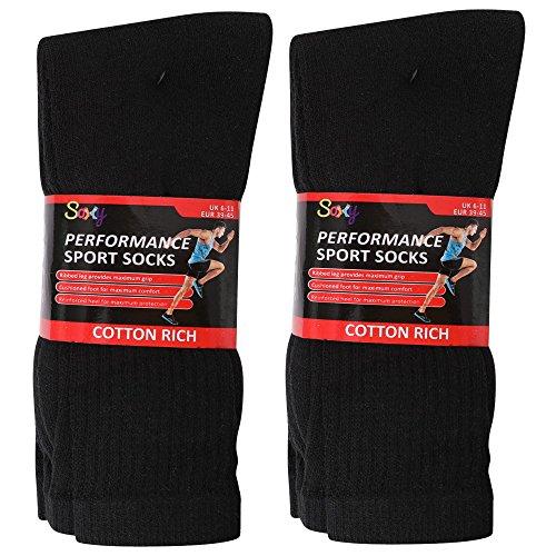 12 Pairs Mens Cotton Rich Sport Socks Work Socks Shoe Size 6-11 (Black)