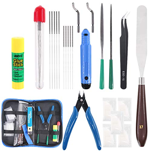 Glarks 24Pieces 3D Printer Nozzle Cleaning Tool Kit, Including 0.35mm 0.4mm Cleaning Needles, Palette Knife, Deburring Tool, Tweezer, File Tool, Grease Packets, Wire Cutter, Glue Stick