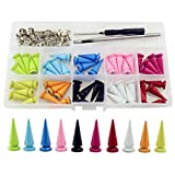 Multi-Color Punk Spikes and Studs for Clothing Screw-on Leather Rivets Kit Korisitar 50 Se...