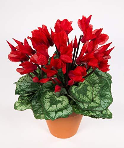 Seidenblumen Roß Großes Alpenveilchen 32cm rot im Topf NT künstliche Blumen Kunstpflanzen Kunstblumen Cyclamen