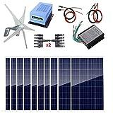 AUECOOR Kit de Sistema híbrido 1400 W: turbina de Viento de 400 W y Panel Solar de poliéster de 10 x 100 W + Controlador MPPT + Controlador Solar + Accesorios para Uso doméstico