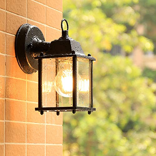 Chao Zan Antik Außen-Wandleuchte Vintage E27 Schwarz Aluminium Gartenlampe Retro Rustikal Wandlampe Aussen mit Glasschirm Aussenleuchte Wasserdichte IP44 Foyer Balkon Villa