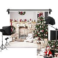 Kate ホリデー クリスマスツリー 背景 写真 ホワイト レンガ 暖炉 新生児 クリスマス 写真 スタジオ背景 20x10フィート/(6x3m)