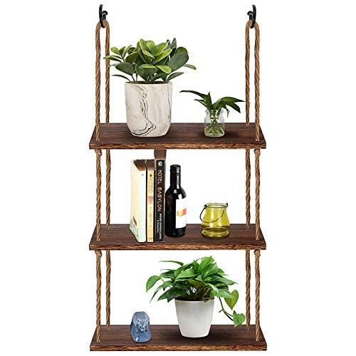 TJ.MOREE Wall Hanging Rope Shelf Wood Hanging Plant Shelves, 3 Tier Window Shelf Home Decor Storage Shelves for Interior Window/Kitchen/Bathroom/Bedroom (Dark Brown)
