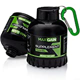 MAXGAIN Supplement Funnel – Portable 60g Protein Powder Container for Supplements and Pre Workout Storage – Mess Free to Go Water Bottle Funnel for Your Gym & Fitness Protein Shake Mix – 2-Pack