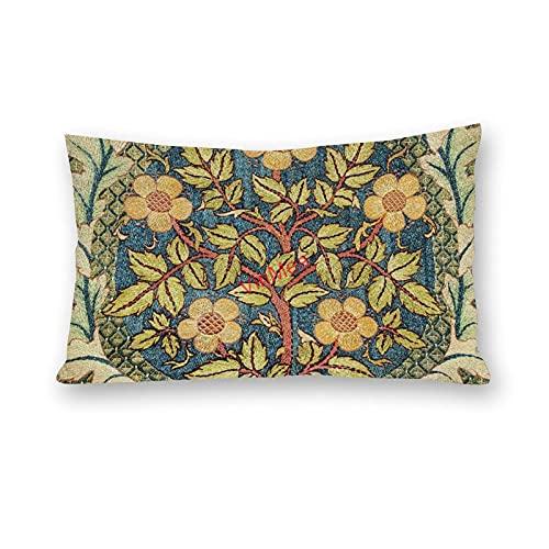 VinMea Fundas de almohada Lumbar de algodón con corona de rosas para sofá, hogar, oficina, decoración de 30 x 50 cm