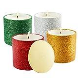Bougies Parfumées, LANGRIA Bougies parfumées paillettes pour Noël, 4 pièces, 7.4 oz parfum de bougies à la cire de soja naturel pour le bain yoga aromathérapie (saison limitée)