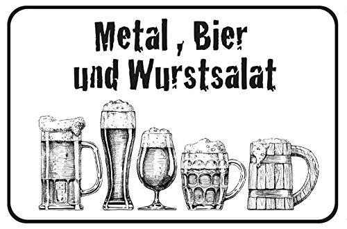 FS Spreuk Bier alcohol worstsalade metalen bord gewelfd Metal Sign 20 x 30 cm