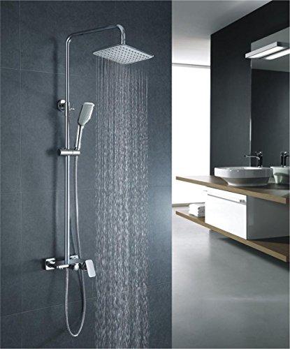 NIHE Mural mélange blanc chrome et match pour la troisième douches de vitesse pomme de douche Set douche à main soulevez , B - Garantie de 5 ans