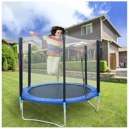 ZIWEIXING 6ft Kids Trampoline with Enclosure Net Jumping Mat and Spring Cover Padding,Enclosure Safety Net Jumping Mat Spring Cover Padding Trampoline Ladder Trampoline Fitness Equipment (As Shown)