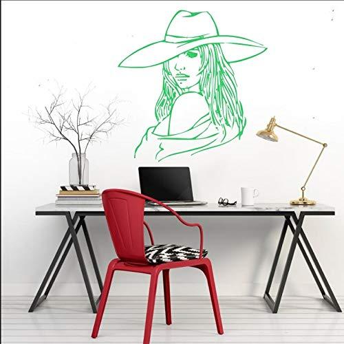 yaonuli Salon Meisjes portret muurtattoo vrouw silhouet met hoed vinyl muursticker thuis woonkamer decoratie muurschildering