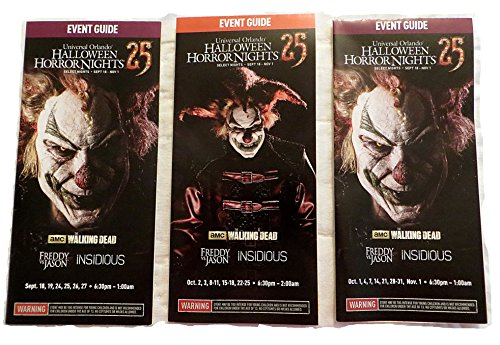 Halloween Horror Nights 25 Map Set of 3 Universal Studios 2015