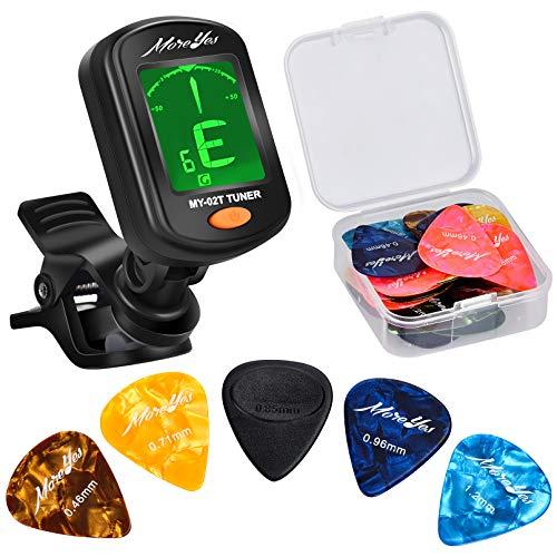 MOREYES 28 PCS Gitarren Picks mit Tuner, Plektren für Ihre Akustik, Elektro oder Bassgitarre 0,46 0,71 0,85 0,96 1,2 mm