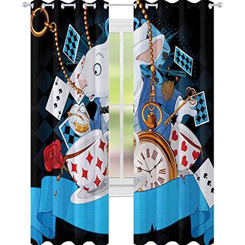 YUAZHOQI Alicia en el país de las maravillas cortina opaca aislada con diseño de conejo, corazones y flores, estilo de dibujos animados, para puerta de cristal, 132 x 274 cm, multicolor