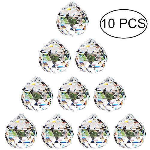 Nuptio 30mm Prisma de Bola Octogonal de Cristal Transparente 10 Piezas - Cuelgan Facetadas Suncatcher Colgante para Lámpara de Techo, Feng Shui, Casa de la Boda, Decoraciones de Oficina