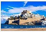 NOBRAND Rompecabezas Rompecabezas 1000 Piezas Peñíscola - Ciudad Española con Isla - Castillo Y Gran Playa En La Provincia De Castellón España para Amigo Adulto