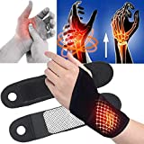 Bluelans Wrist Supports for Men and Women, 1 Pair Self-Heating Magnetic Wristband Wrist Strap Wrist Support Wrist Braces Hand Support Protector for Wrist Injuries, Joint Disease, Sprains Black