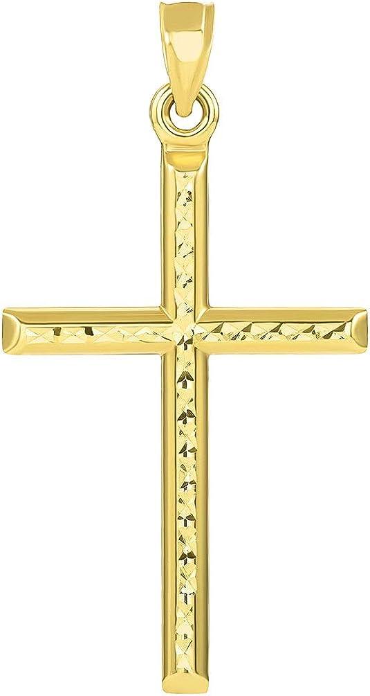 14k Yellow Gold Textured Religious Classic Tube Cross Pendant