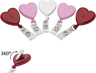 5 Pack - Cute Heart Shaped Retractable Badge Reels with 360° Swivel Alligator Pinch Clip - Great Name Badge Holder for Nurses, Teachers, DIY Bling & Office by Specialist ID (Assorted Colors)