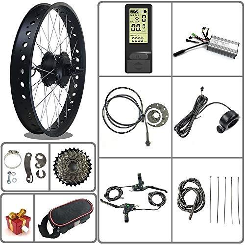 Tbrand 36V / 48V 500W Kit de conversión de Bicicleta eléctrica para Bicicleta de Nieve/neumático Grueso Motor de Cubo Giratorio Trasero de Rueda de 20/26 Pulgadas con Pantalla LCD4(Negro, 20inch)