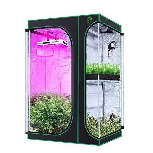 vantiorango Upgarded 2-in-1 Mylar Hydrokultur-Zelt, 91,4 x 61 x 134,6 cm, mit Sichtfenster, für den Innenanbau von Pflanzen