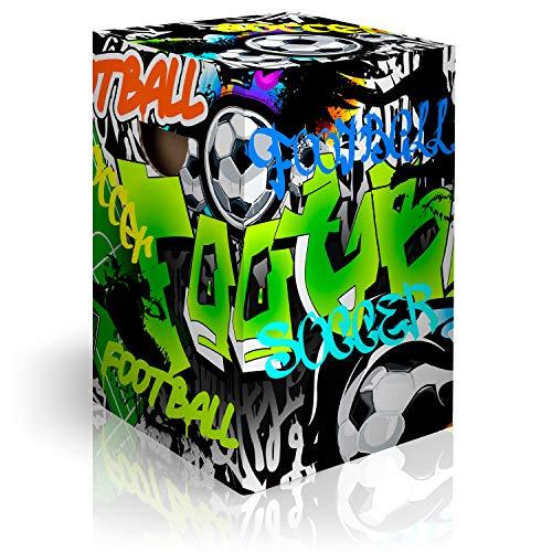 murando Papphocker Motiv Fussball 45x30x30 cm faltbar Papier Hocker ergonomischer Karton Photohocker Falthocker i-A-0153-ap-a