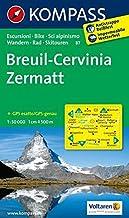 Carta escursionistica n. 87. Svizzera, Alpi occidentali. Breuil, Cervinia, Zermatt 1:50.000: Wandelkaart 1:50 000