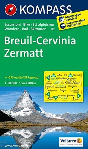 Breuil - Cervinia - Zermatt: Wanderkarte mit Radrouten und alpinen Skirouten. GPS-genau. 1:50000. (KOMPASS-Wanderkarten, Band 87)