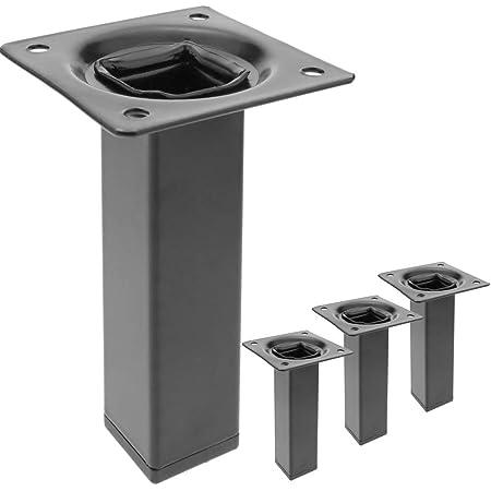 PrimeMatik - Pies Cuadrados para Mesa y Mueble. Patas en Acero Negras de 10cm 4-Pack
