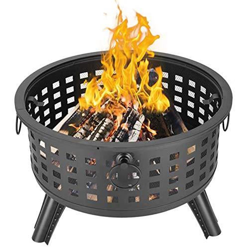 Chimenea de Brasero al aire libre, quemador para acampar senderismo redondo celosía fuego tazón portátil de leña patio trasero
