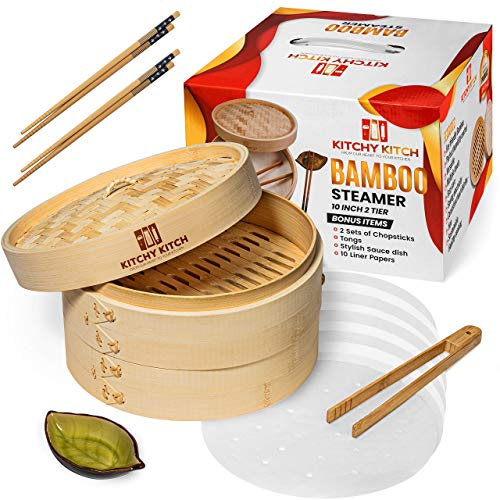 Bamboo Steamer 10 Inch 2 tier, for cooking, Chopstick Set x 2, Tongs, 10 Liner Paper & Sauce Pot - Steam Cook Healthy Food Every Day. Perfect for Asian Food, Dim sum, Dumpling, Fish