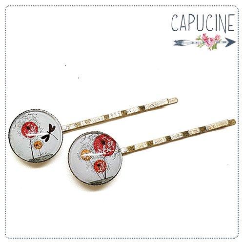 2 pinces bronze cabochons verre libellule - pinces cheveux cabochon - Barrettes cheveux illustrées - Les Fleurs au Vent