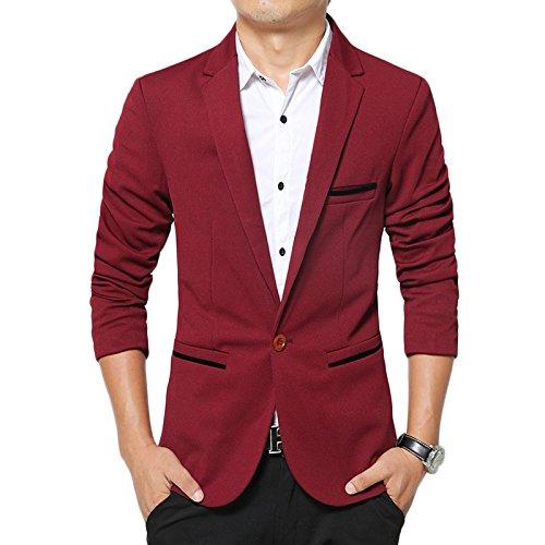 LEOCLOTHO Blazer Casual para Hombre Slim fit Chaquetas de Traje de Un Solo Pecho para Negocios Boda Ocio Rojo XS