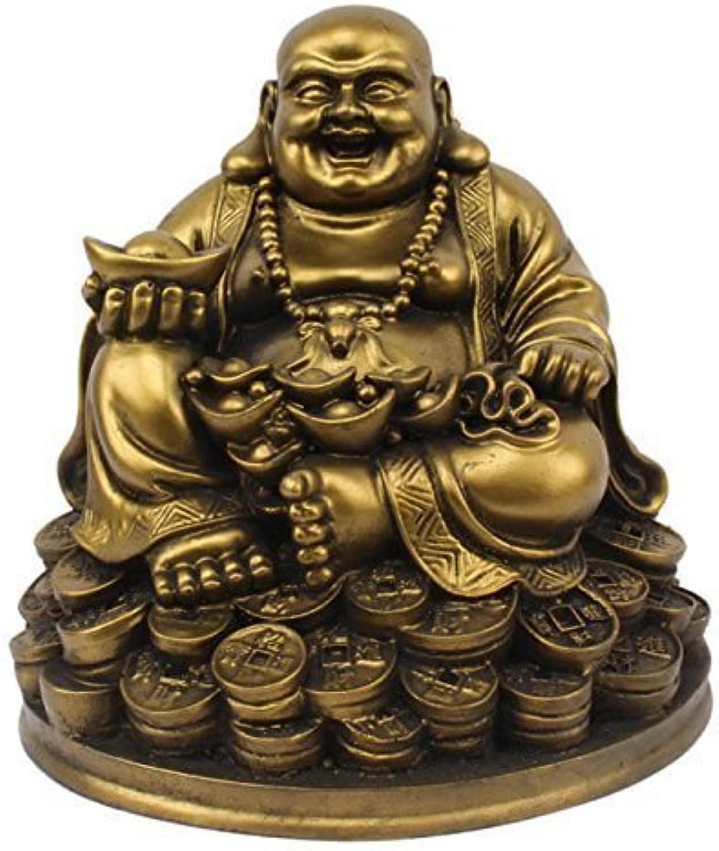 Petrichor Feng Shui lachender Buddha, der auf glücklichen Geldmünzen trgt Goldbarren für gutes Glück u. Glück sitzt (5 Zoll)