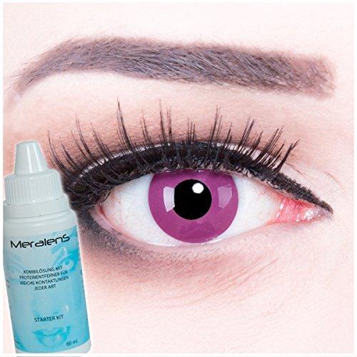 Farbige violet violete Kontaktlinsen ohne Stärke crazy Kontaktlinsen crazy contact lenses Purple 1 Paar. Mit Linsenbehälter und 60ml Pflegemittel