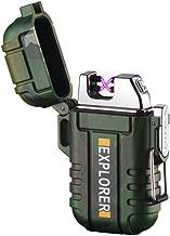 lcfun Waterproof Lighter Outdoor Windproof Lighter Dual Arc Lighter Electric Lighters USB Rechargeable-Flameless-Plasma Lighter for Cigarette,Camping,Hiking,Outdoor Adventure,Survival