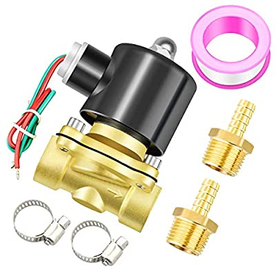 Tailonz Pneumatic 1/2 Inch NPT 12V/24V/110V/220V Brass Electric Solenoid Valve 2W160-15 Normally Closed Water, Air, Diesel from TAILONZ PNEUMATIC