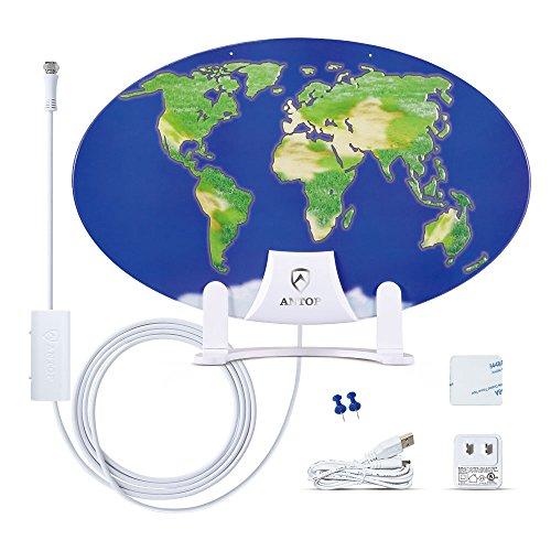 Outdoor TV Antenna for Multiple TVs, ANTOP UFO Amplified Rooftop/Attic/RV/Marine HDTV Antenna 65...