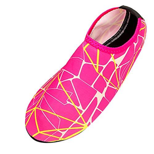Xmiral Wasserschuhe Strandschuhe Paare Gummisohle Einfarbig Barfuß Tauchschuhe Hausschuh für Herren Damen Verschleißfest Badeschuhe Schuhe(Rosa rot,38/39 EU)